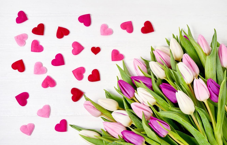 Wallpaper Love Flowers Heart Bouquet Tulips Love Pink Heart