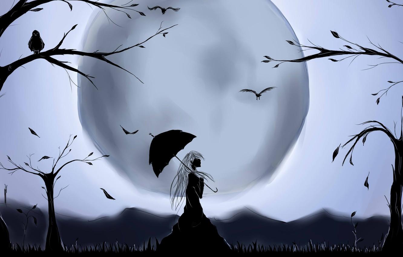 Photo wallpaper trees, bird, the moon, silhouette, moon, long hair, long hair, trees, bird, fantasy art, silhouette, …