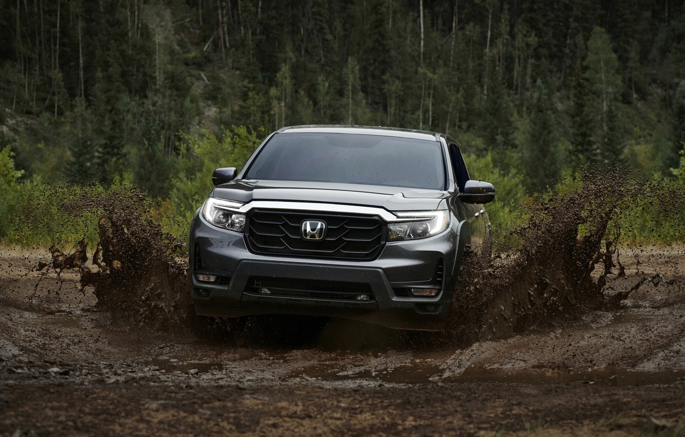 Photo wallpaper squirt, dirt, Honda, pickup, 2020, Ridgeline, 2021