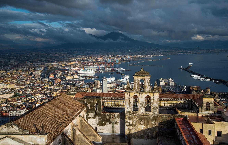 Photo wallpaper Italy, panorama, Naples, Vesuvius
