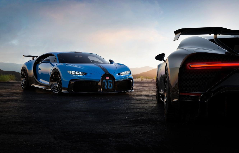 Photo wallpaper the evening, Bugatti, pair, hypercar, Chiron, 2020, Pur Sport