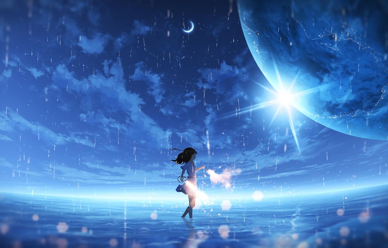 Photo wallpaper the sky, water, rain, planet, fantasy, girl, sparklers