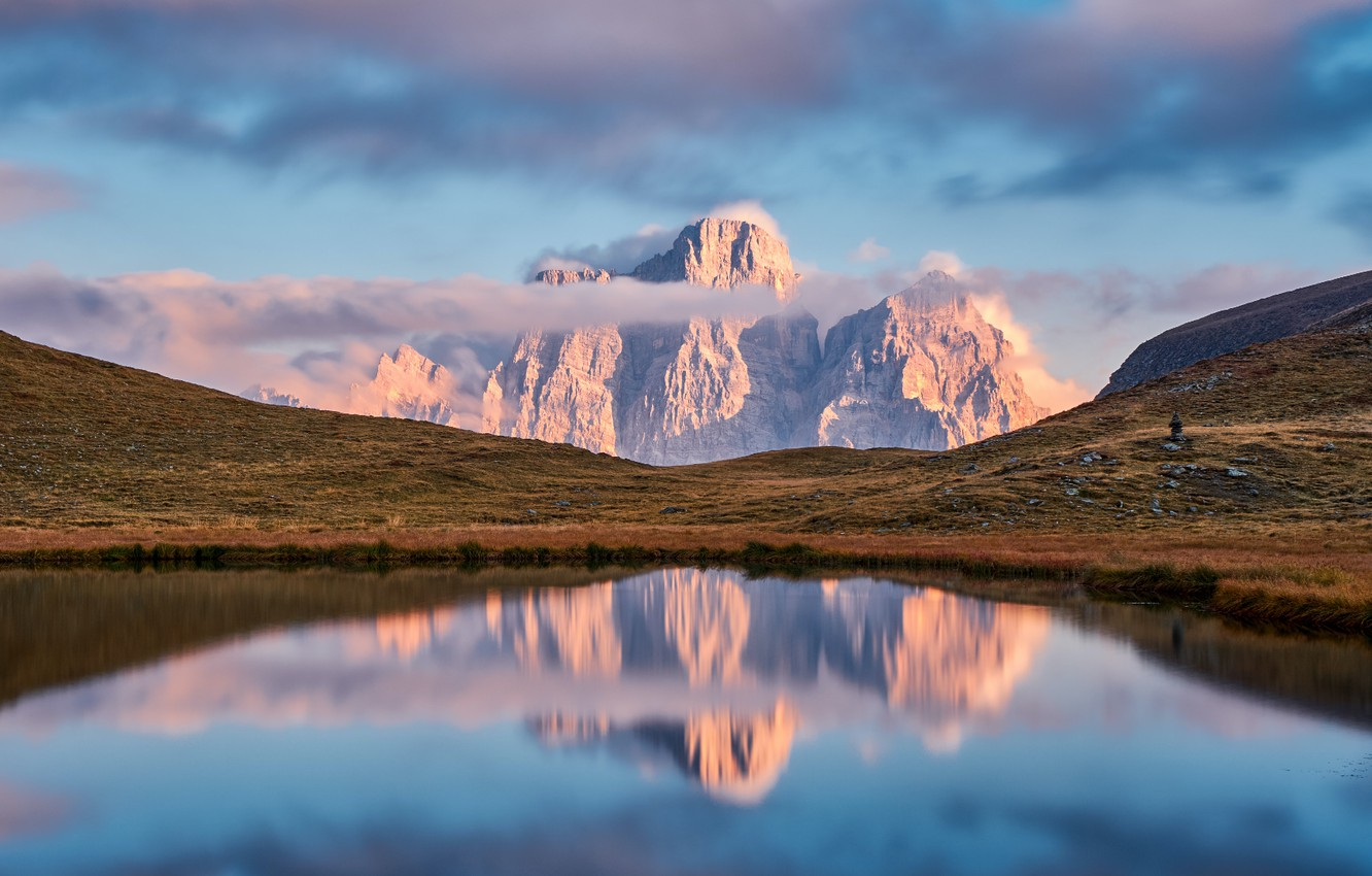 Photo wallpaper sky, landscape, Italy, nature, water, mountains, clouds, lake, Alps, Dolomites