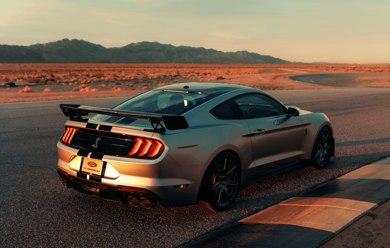 Photo wallpaper Mustang, Ford, Shelby, GT500, track, 2019, gray-silver