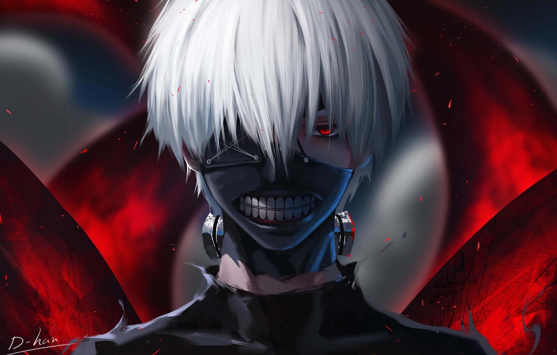 Photo wallpaper fantasy, anime, red eyes, digital art, artwork, mask, fantasy art, white hair, Tokyo Ghoul, Ken …