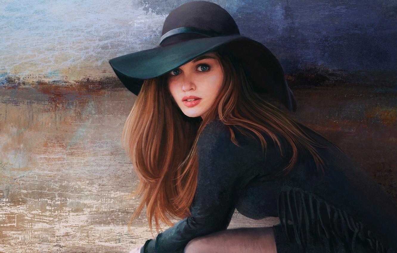 Photo wallpaper Girl, Figure, Look, Girl, Eyes, Hat, Brown hair, Art, Art, Beauty, Eyes, Beautiful, Hat, Look, …