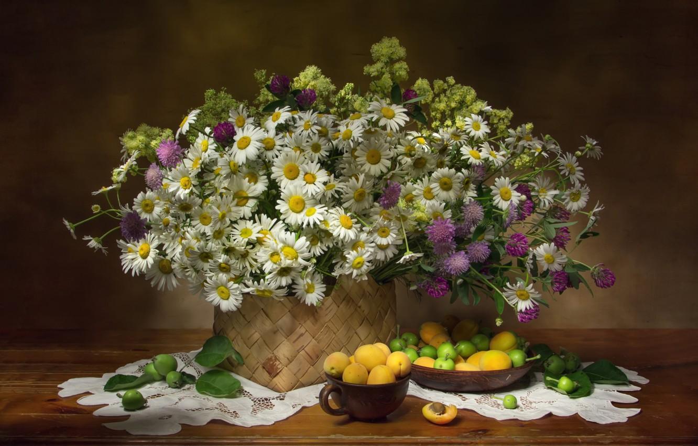 Photo wallpaper summer, chamomile, clover, basket, apricots