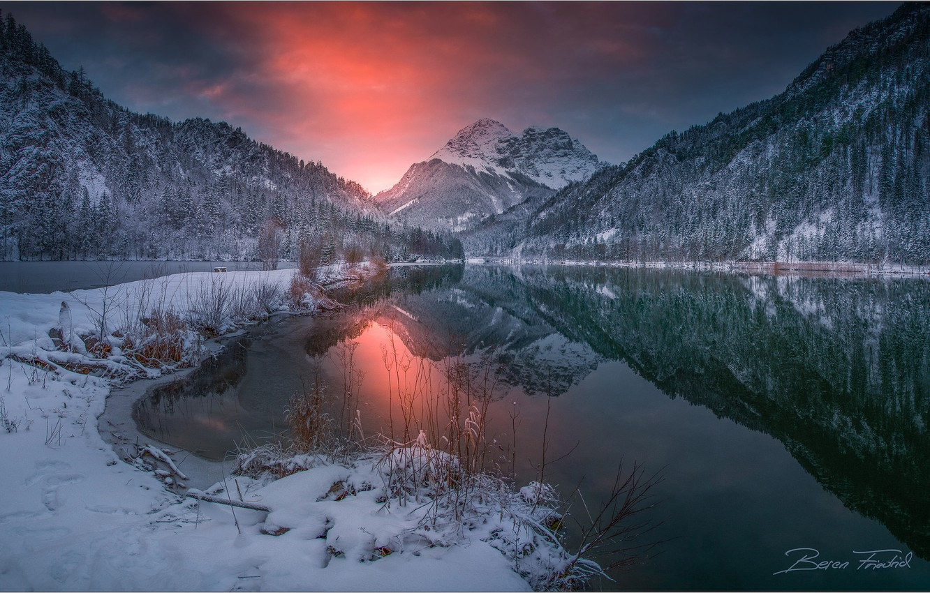 Photo wallpaper winter, forest, the sky, sunset, mountains, lake, reflection, Austria, Friedrich Beren