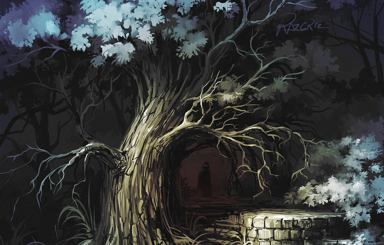 Photo wallpaper Tree, Figure, Forest, Silhouette, Darkness, Art, Roman Avseenko, by Roman Avseenko, a little dark