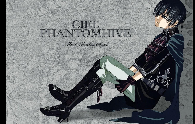 Photo wallpaper abandoned, loneliness, skull, grey background, black cloak, Dark Butler, eye patch, Kuroshitsuji, Ciel Phantomhive