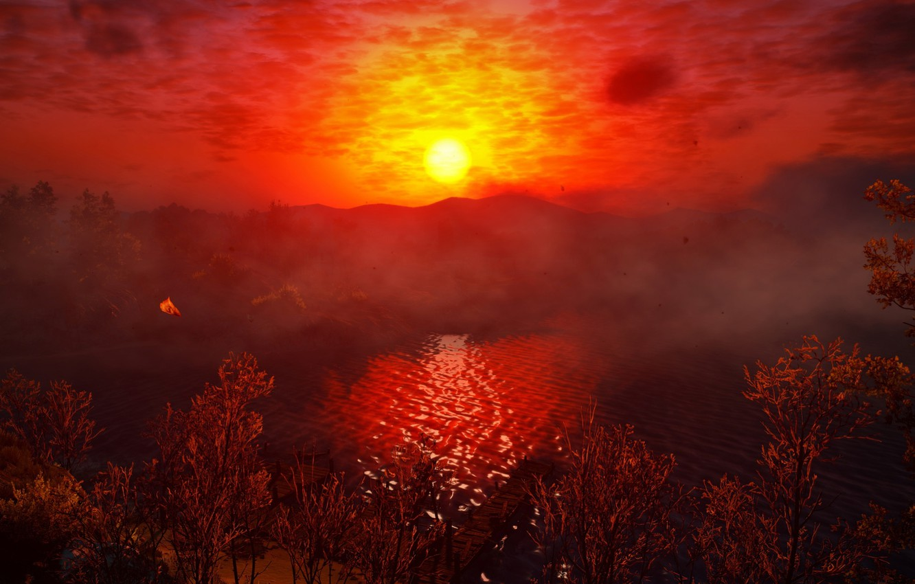 Photo wallpaper Sunset, Water, Red, Color, Tree, Grass, Lake, Trees, The Witcher, The Witcher, The Witcher 3 …