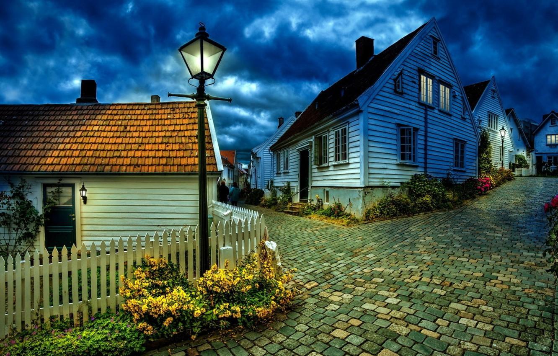 Photo wallpaper Night, Wallpaper, Village