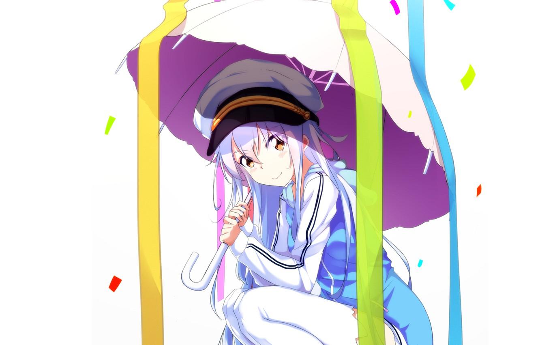 Photo wallpaper umbrella, girl, Island