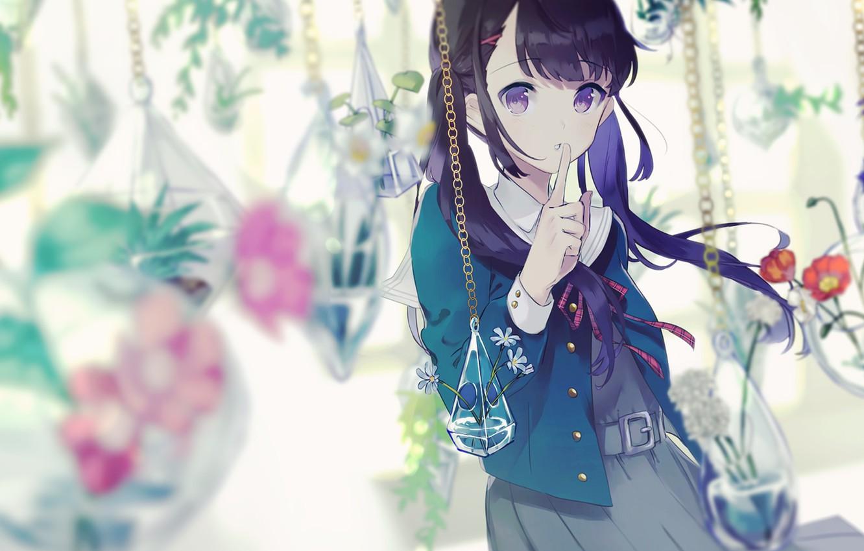 Photo wallpaper flowers, background, girl