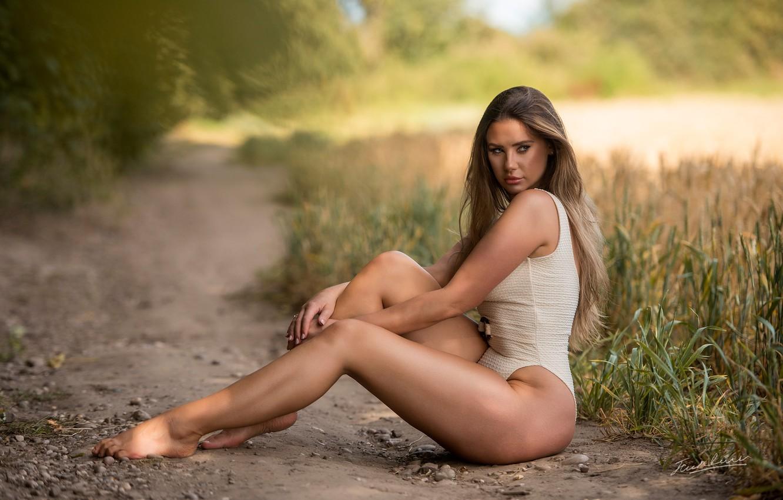 Photo wallpaper swimsuit, girl, pose, legs, long hair, Jack Russell