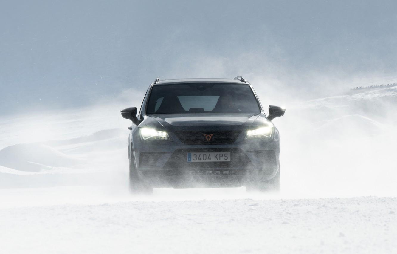Photo wallpaper snow, the wind, Blizzard, SUV, Seat, Cupra, Ateca, 2019