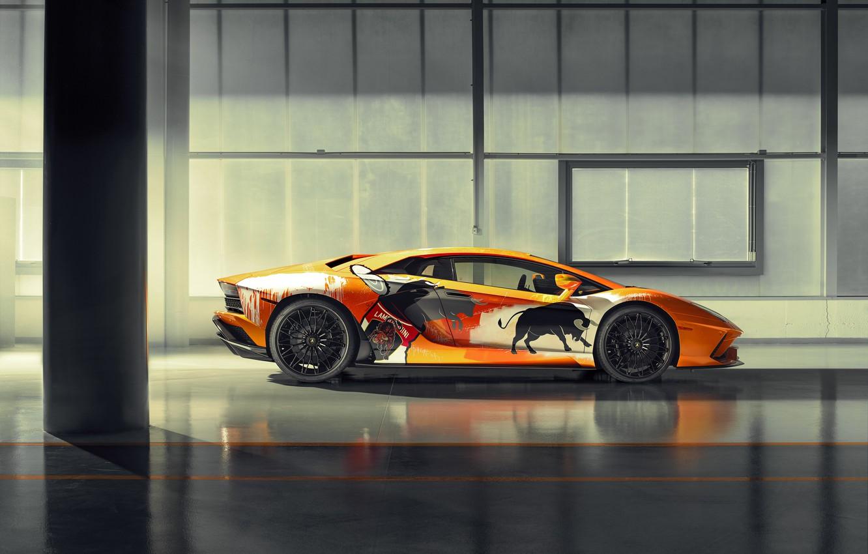 Photo wallpaper Lamborghini, sports car, bulls, Aventador S, Skyler Grey