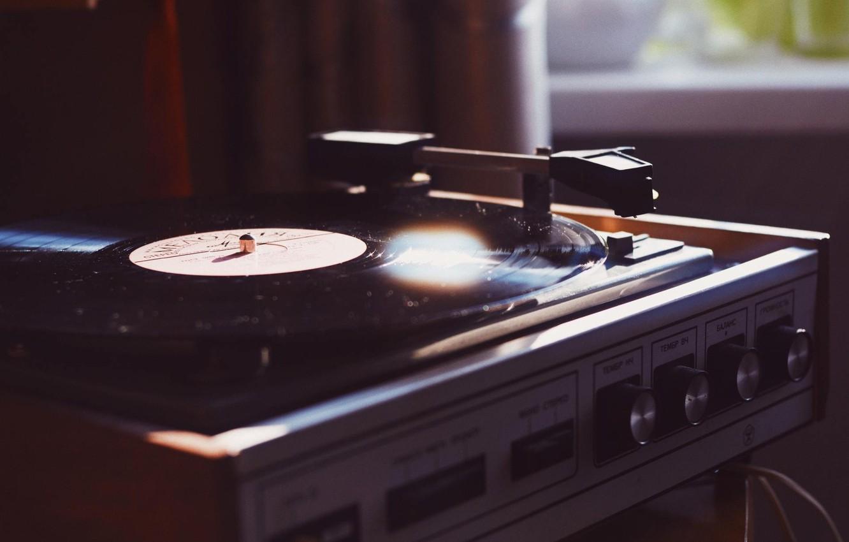 Photo wallpaper window, vinyl, record player