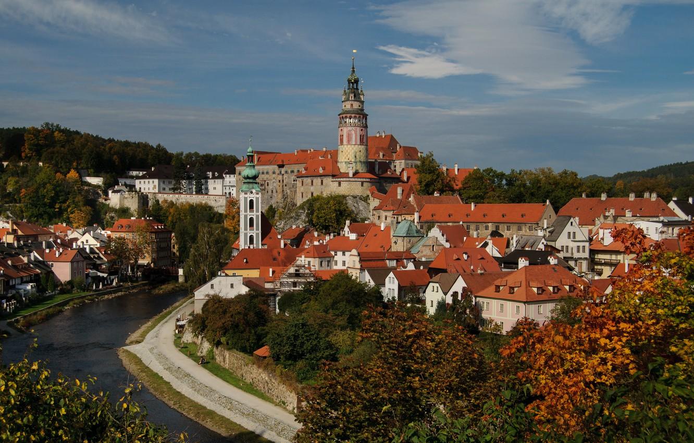 Photo wallpaper river, tower, home, Czech Republic, panorama, Cesky Krumlov