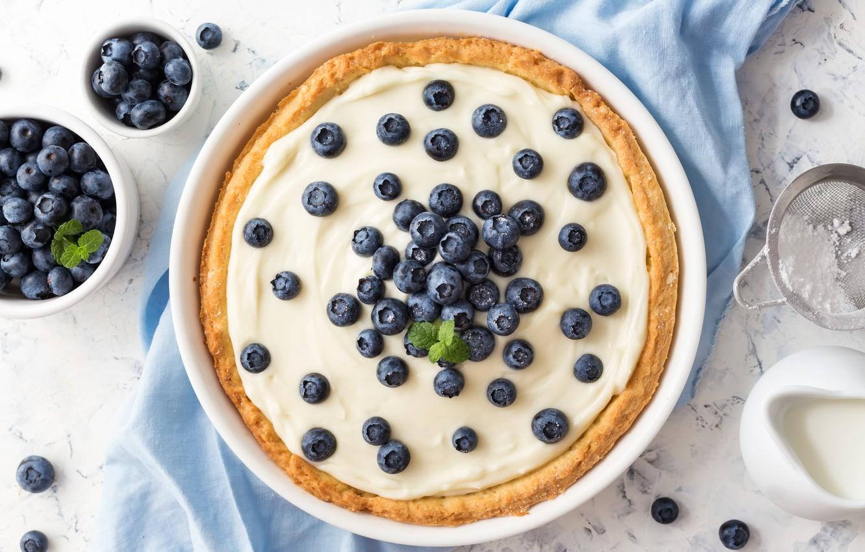 Photo wallpaper berries, blueberries, cream, pie, cream, whipped