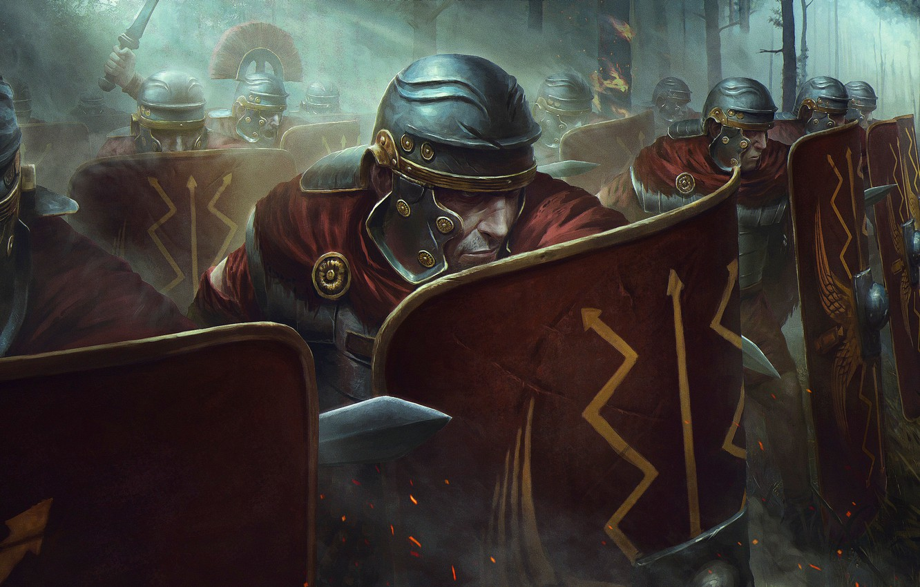 Photo wallpaper Soldiers, Warriors, Shield, Army, Legion, Legion, Soldier, Shield, Video Game, Total War: Rome II, Armored, …