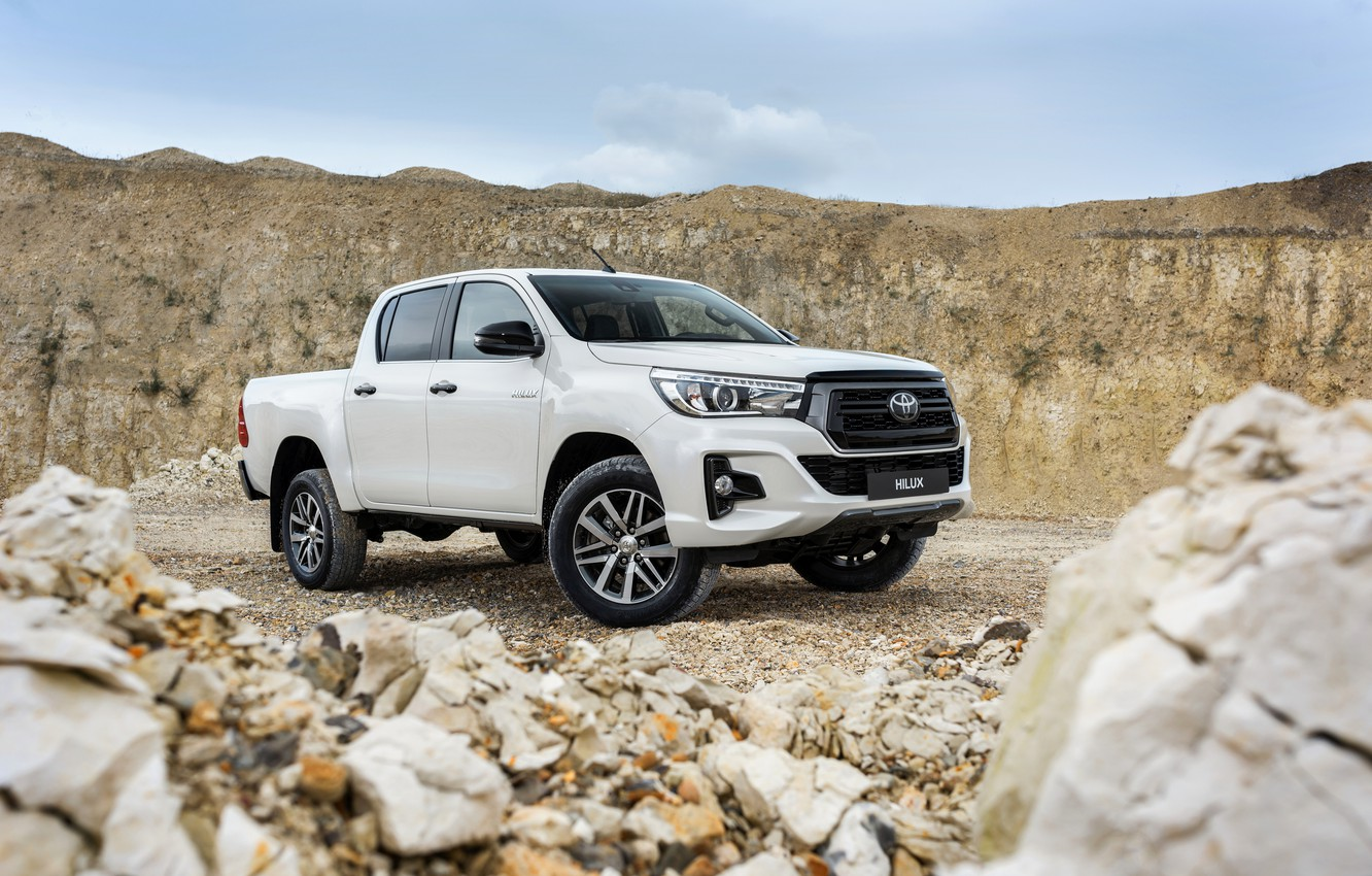Photo wallpaper white, the sky, stones, Toyota, pickup, Hilux, Special Edition, 2019