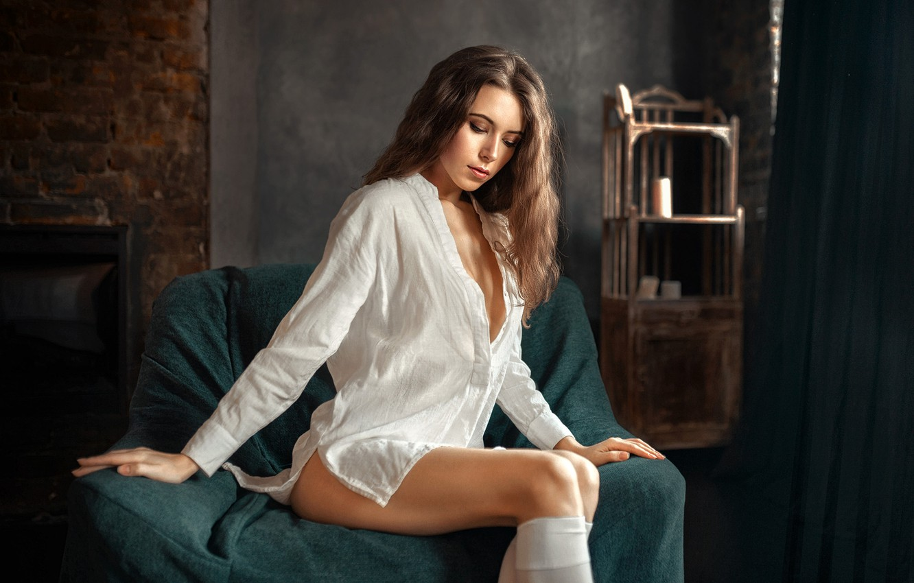 Photo wallpaper pose, model, portrait, Victoria, makeup, figure, hairstyle, shirt, brown hair, legs, beauty, knee, sitting, in …