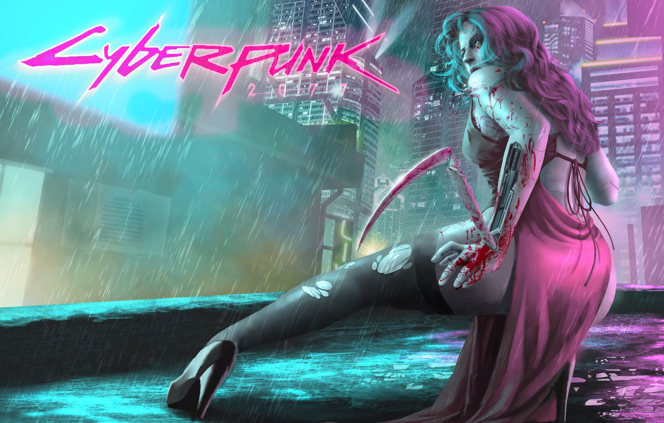 Wallpaper Girl, The City, The Game, Rain, Art, Cyborg, CD