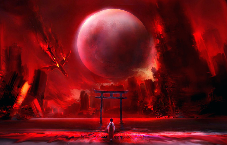 Photo wallpaper girl, the plane, ruins, the full moon, falls, torii, кровавая река