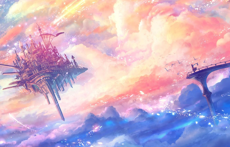 Photo wallpaper girl, fantasy, sky, bridge, clouds, birds, Castle, digital art, artwork, fantasy art, floating castle