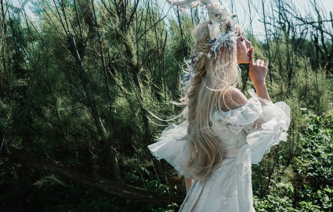 Photo wallpaper forest, girl, decoration, branches, nature, face, style, thickets, hairstyle, finger, blonde, costume, outfit, horns, profile, …