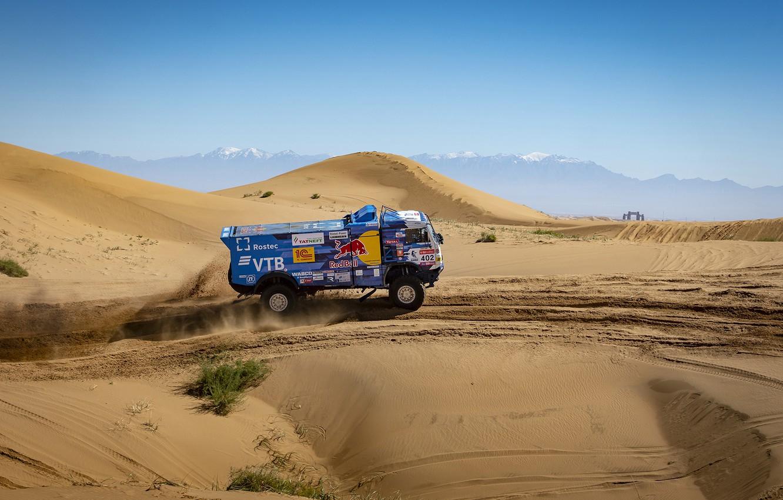 Photo wallpaper Sand, Mountains, Machine, Speed, Truck, Race, Master, Hills, Kamaz, Rally, KAMAZ-master, KAMAZ, The roads, RedBull, …