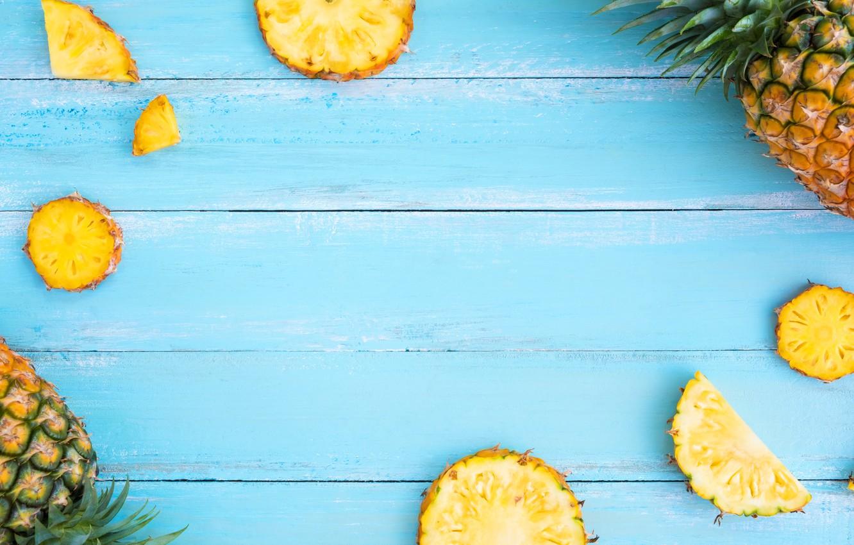 Photo wallpaper fruit, pineapple, fresh, wood, slices, fruit, pineapple, slice