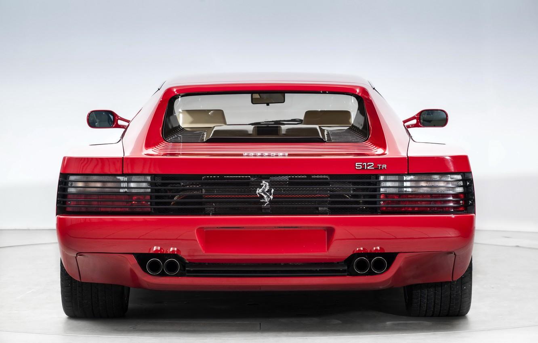 Photo wallpaper Red, Supercar, Rear view, Ferrari Testarossa, Ferrari 512 TR