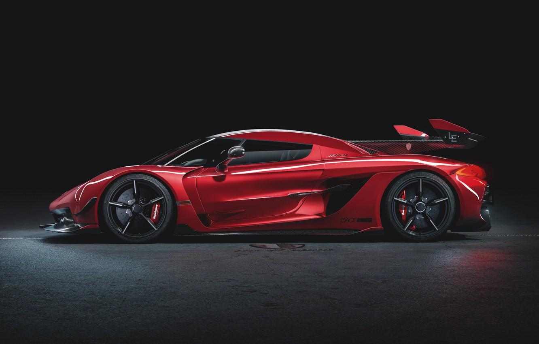 Photo wallpaper Koenigsegg, supercar, side view, hypercar, 2019, Jesko, 1600 HP, Cherry Red Edition