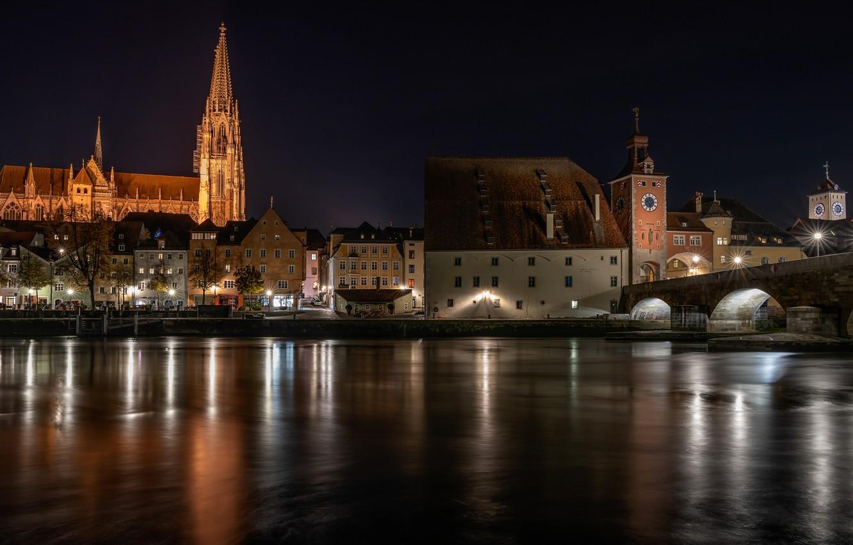 Photo wallpaper bridge, lights, river, the evening, Germany, Regensburg