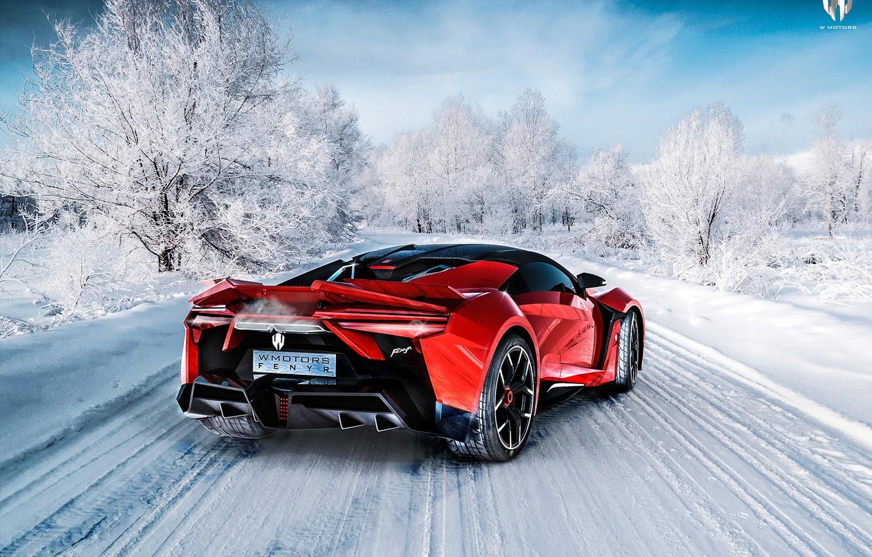 Photo wallpaper Red, Winter, Auto, Snow, Rendering, Supercar, Concept Art, Sports car, SuperSport, Transport & Vehicles, Benoit …