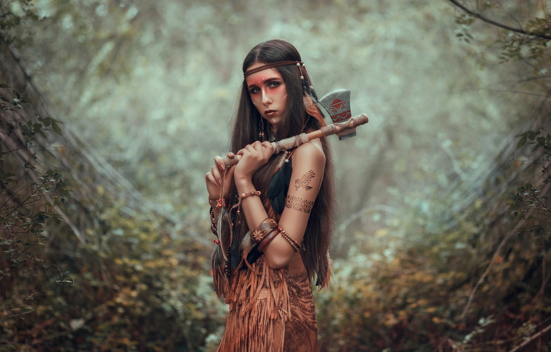 Photo wallpaper look, girl, pose, blur, axe, long hair, Tomahawk, paint, Indian, Julia Tagashova, Maria Miroshnichenko