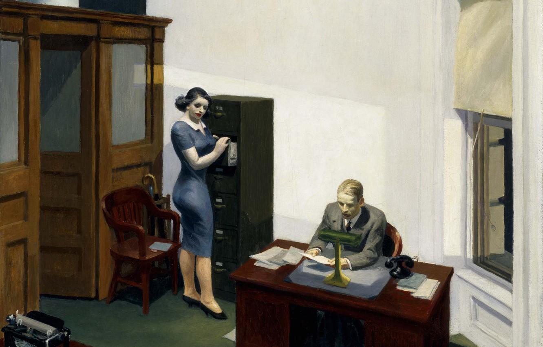 Photo wallpaper 1940, Edward Hopper, Office at night