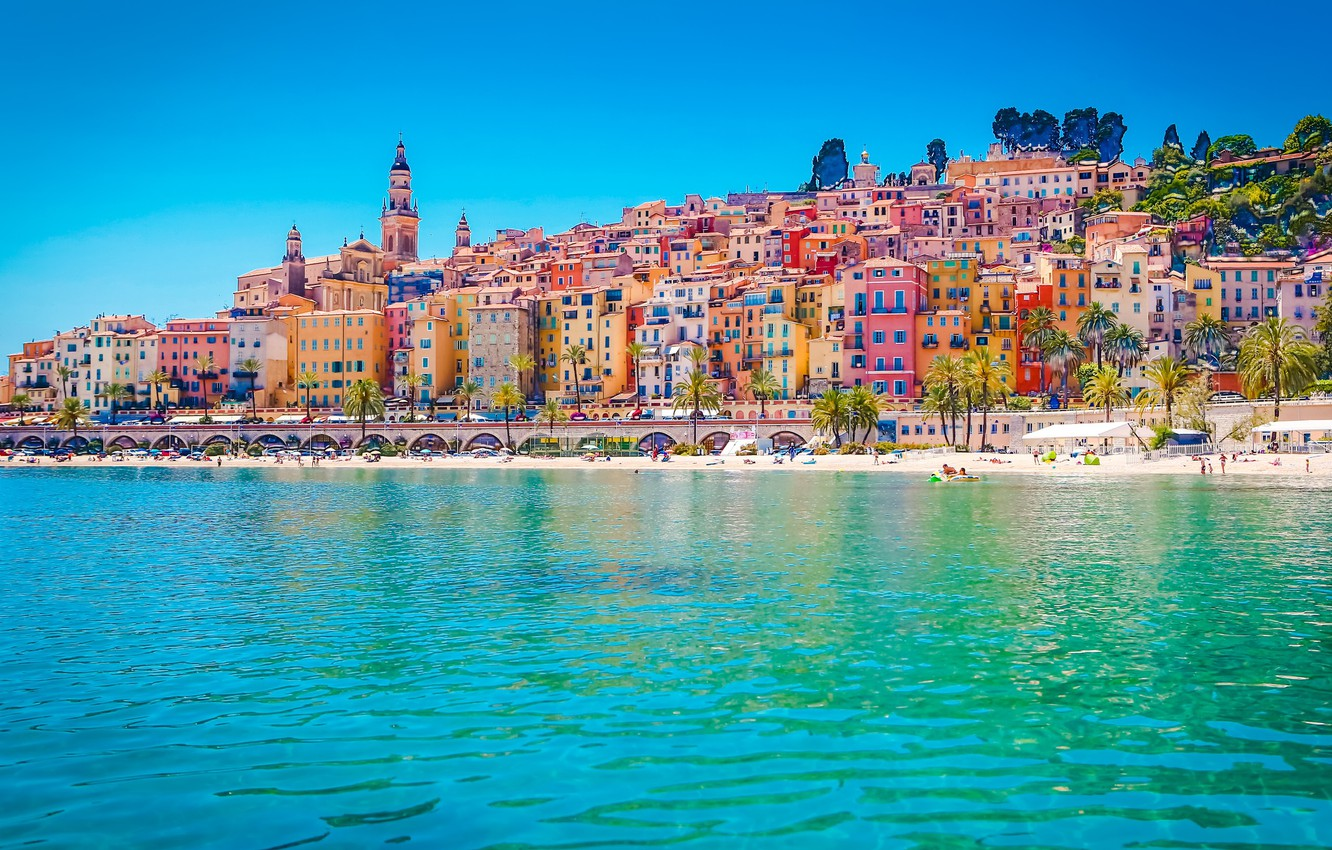 Photo wallpaper sea, bright, France, home, Menton
