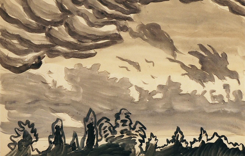 Photo wallpaper Untitled, Charles Ephraim Burchfield, 916, Black and White Cloud - Cloud Study
