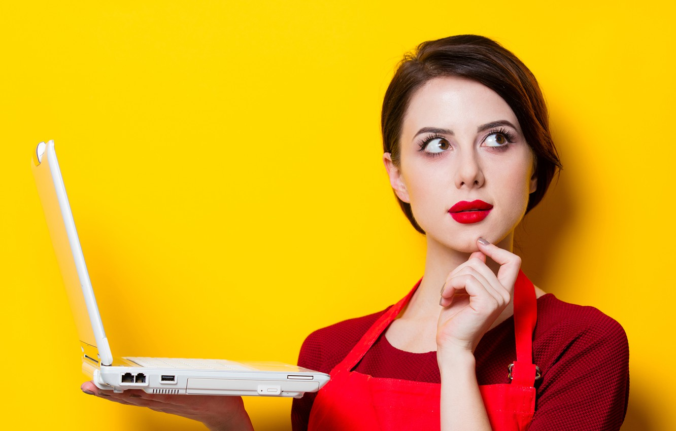 Photo wallpaper girl, pose, yellow, background, wall, portrait, makeup, hairstyle, laptop, brown hair, is, in red, cute, ...