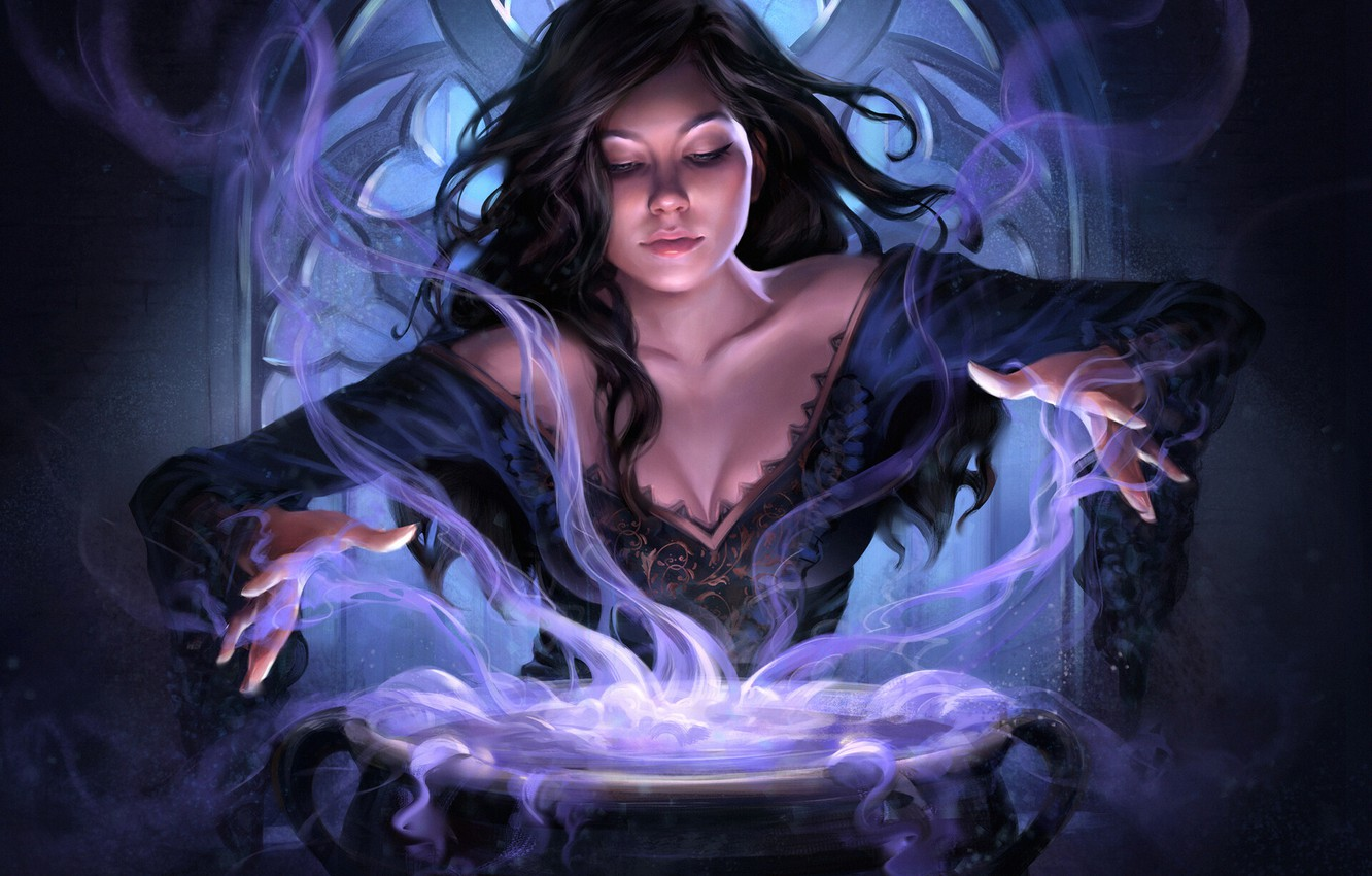 Photo wallpaper girl, art, witch, fantasy, art, conjures