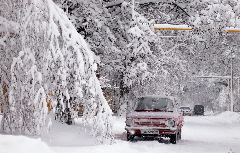 Photo wallpaper car, relax, winter, snow, Donetsk, zaz968