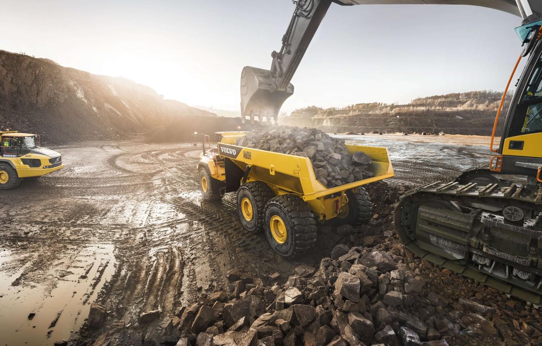 Photo wallpaper stones, Volvo, excavator, the ground, quarry, dump truck, loading, mining truck, Volvo A60H, big truck
