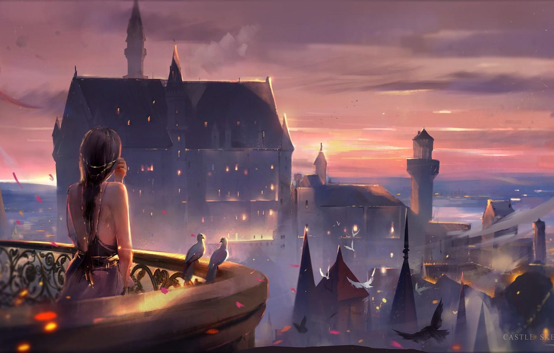 Photo wallpaper the sky, girl, castle, the evening, pigeons, tower, balcony, long hair, spires, art, the light …