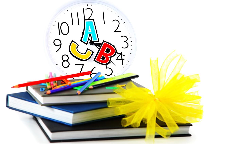 Photo wallpaper watch, books, pencils, white background, dial, school