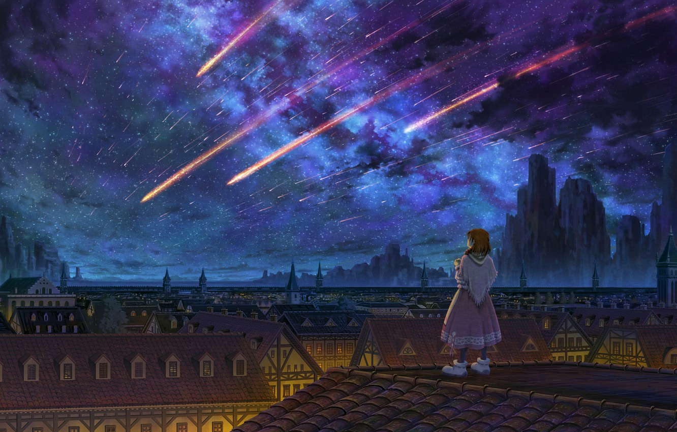 Photo wallpaper girl, night, the roofs of the houses, star rain