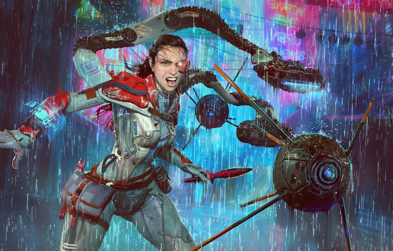Photo wallpaper girl, rain, cyborg, drones