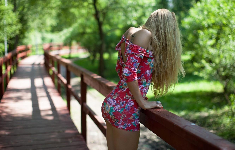 Photo wallpaper girl, bridge, pose, back, dress